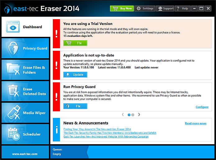 east-tec Eraser 2015 Screenshot