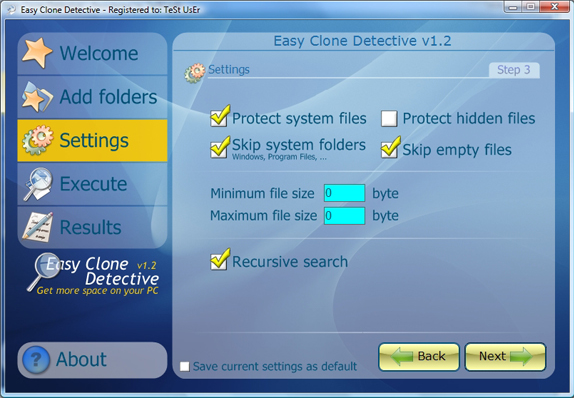 Easy Clone detective, Duplicate Files Software Screenshot