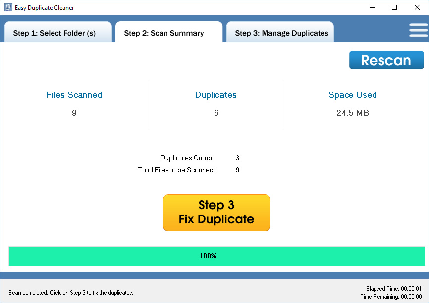 Easy Duplicate Cleaner, Duplicate Files Software Screenshot