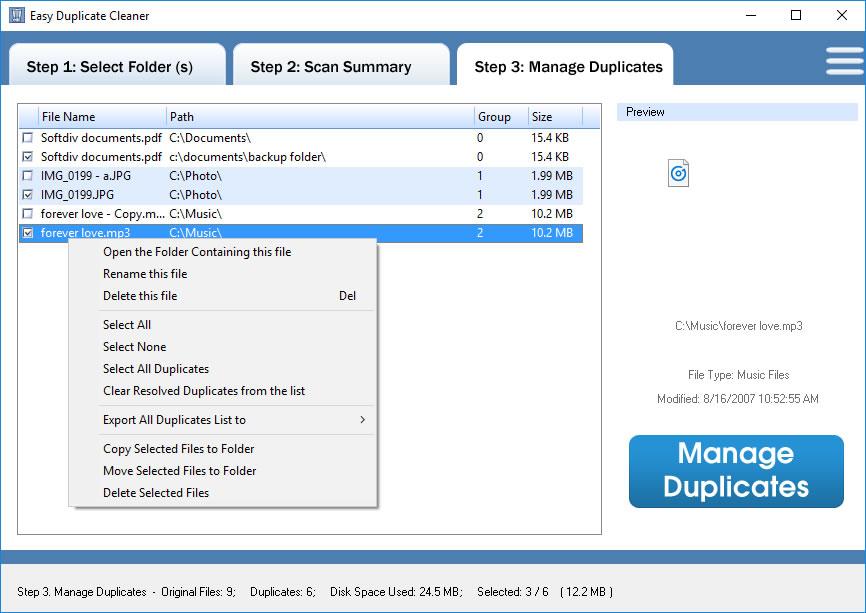 Duplicate Files Software, Easy Duplicate Cleaner Screenshot
