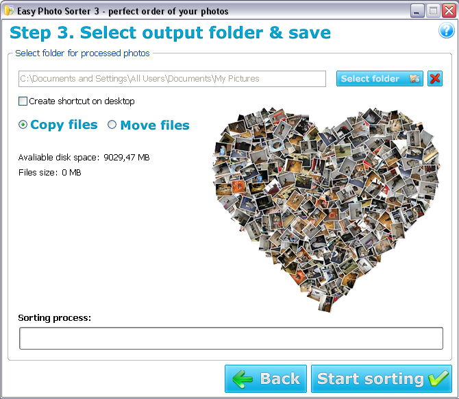 Easy Photo Sorter, Batch Image Software Screenshot