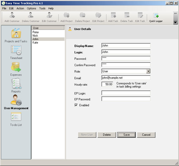 Accounting Software, Easy Time Tracking Pro Screenshot