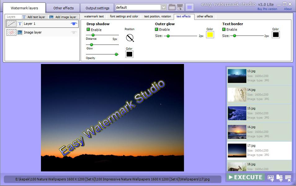 Photo Manipulation Software, Easy Watermark Studio PRO V.3.4 Screenshot