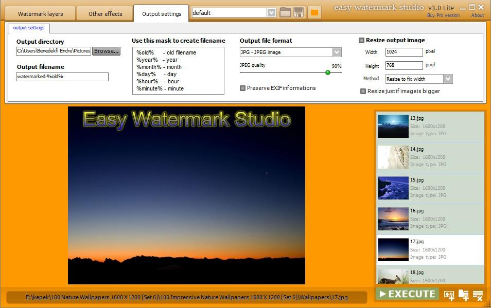 Design, Photo & Graphics Software, Easy Watermark Studio PRO V.3.4 Screenshot