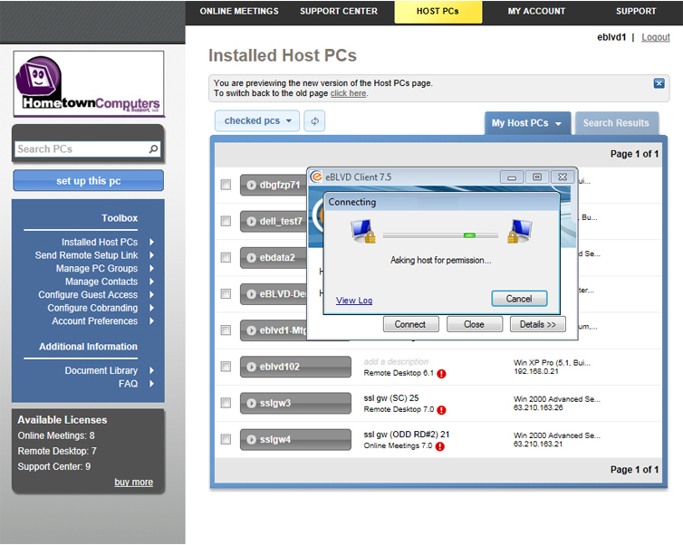 Software Utilities, eBLVD Support Center HelpDesk Screenshot