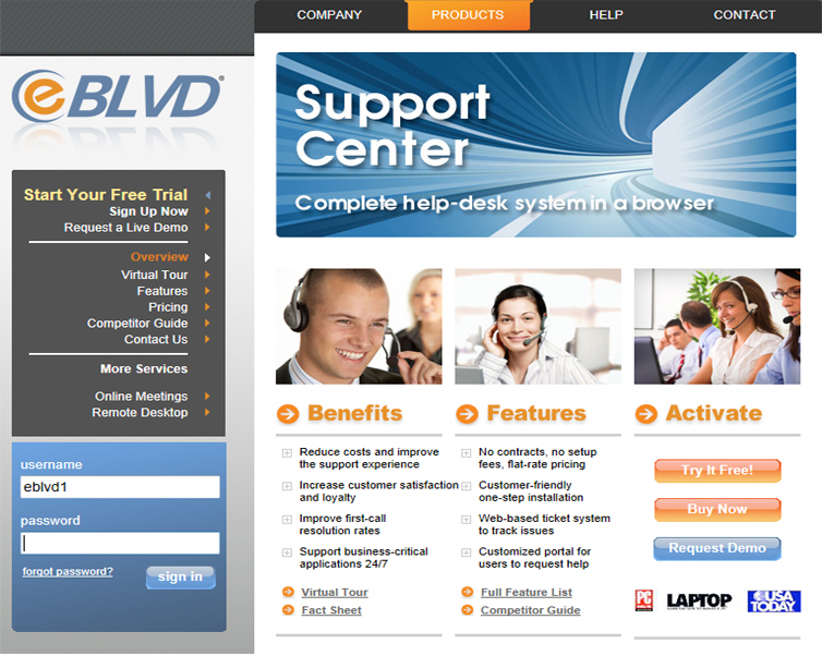 eBLVD Support Center HelpDesk Screenshot