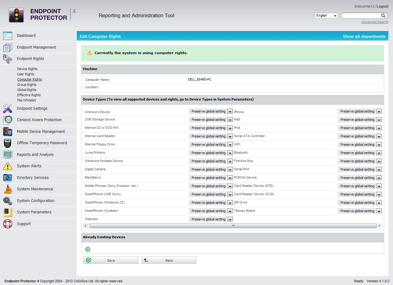 Endpoint Protector Basic, Network Security Software Screenshot