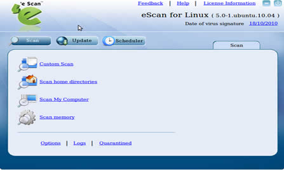 eScan for linux Desktops Screenshot