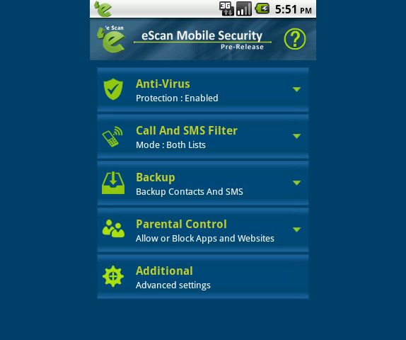 eScan Mobile Security for Android Screenshot