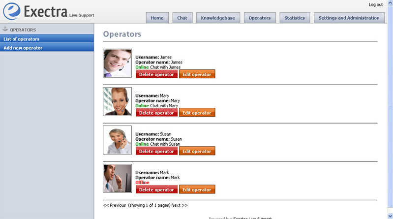Business Management Software, Exectra Live Support Screenshot