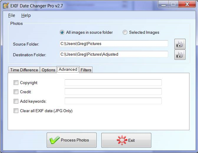 EXIF Date Changer, Photo Editing Software Screenshot