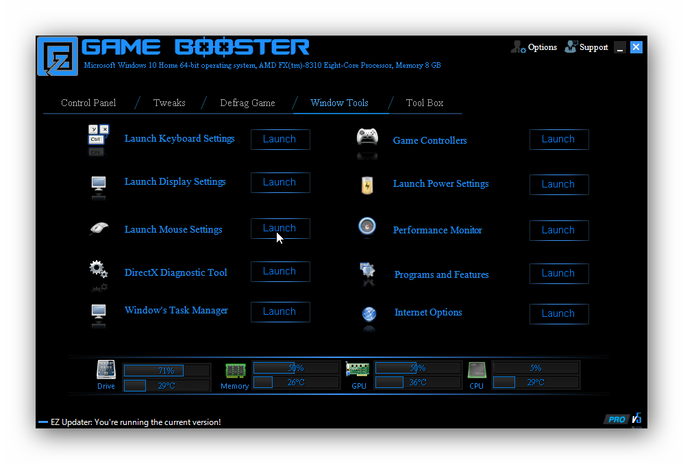 EZ Game Booster, Software Utilities Screenshot