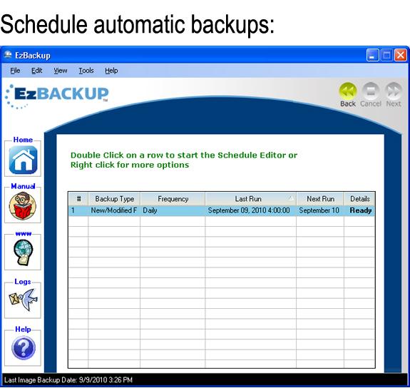 EzBackup 5.0, Backup Files Software Screenshot