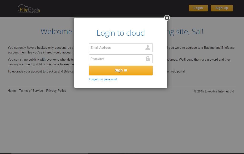 Filebasin Cloud Backup Lifetime Subscription Screenshot