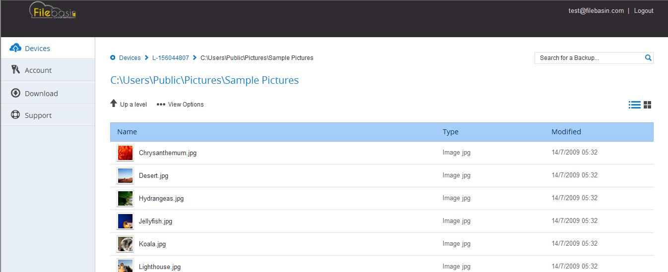 Backup Cloud Software, Filebasin Cloud Backup Lifetime Subscription Screenshot