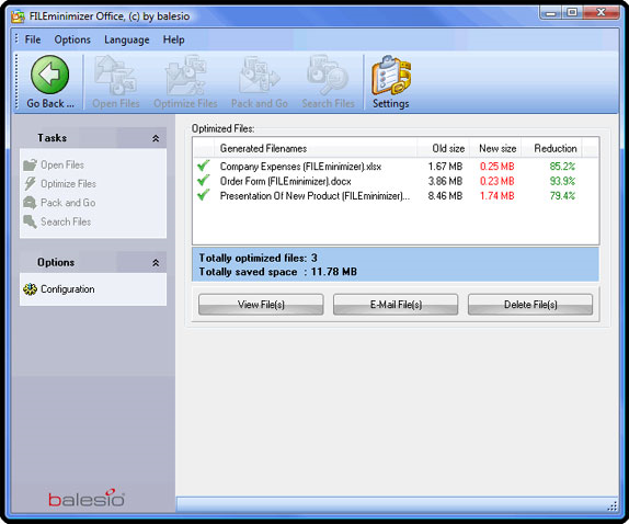 FILEminimizer Office 7.0, Software Utilities Screenshot