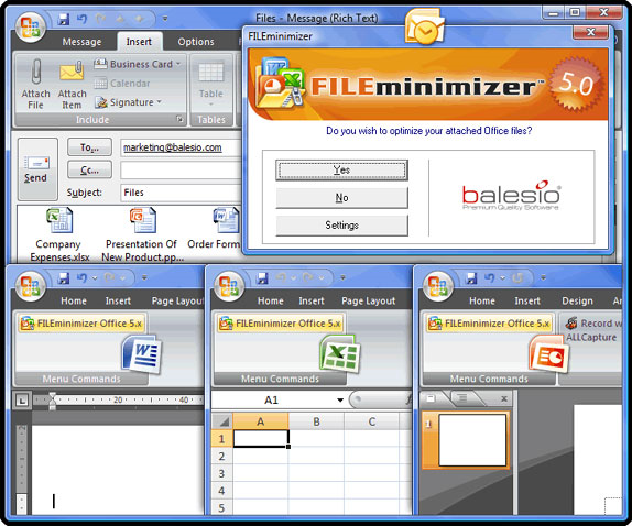 Compression and Extraction Software, FILEminimizer Office 7.0 Screenshot