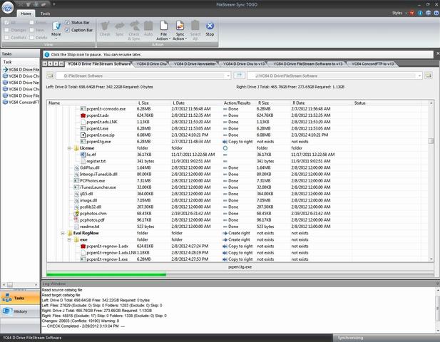 FileStream Sync TOGO, File Sync Software Screenshot