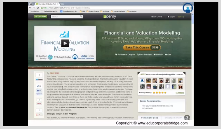 Financial Modeling and Valuation Screenshot