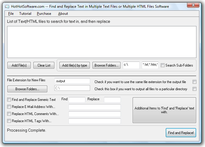 Find and Replace Text in Multiple Text Files or Multiple HTML Files! Screenshot