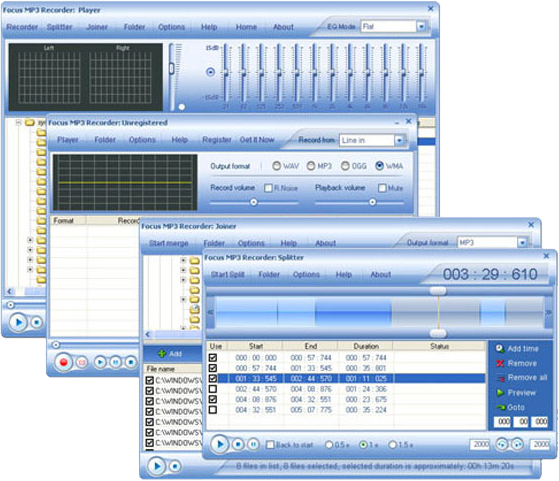 MP3 Recording Software, Focus Mp3 Recorder Pro PowerPack Screenshot