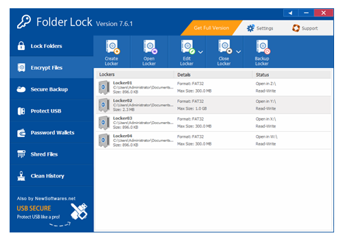 Folder Lock, Encryption Software Screenshot