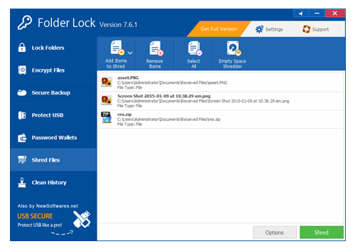 Folder Lock, Security Software, Encryption Software Screenshot