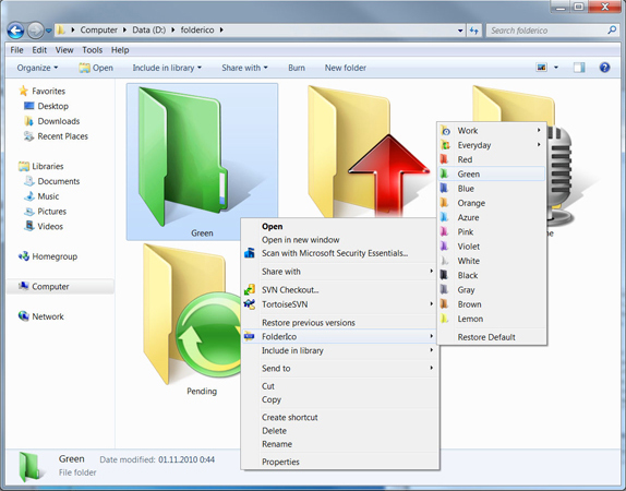 FolderIco, Folder Software Screenshot
