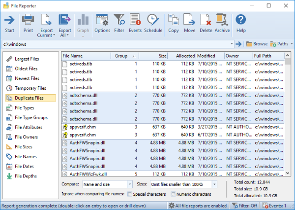 Hard Drive Software, FolderSizes Professional Edition Screenshot