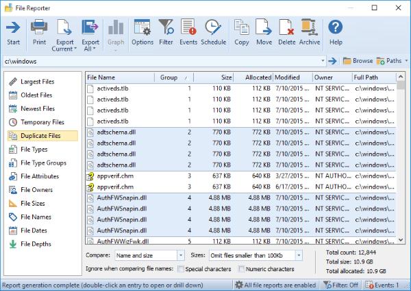 Hard Drive Software, FolderSizes Professional Edition Screenshot