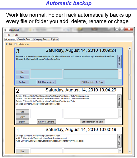 FolderTrack, File Management Software Screenshot