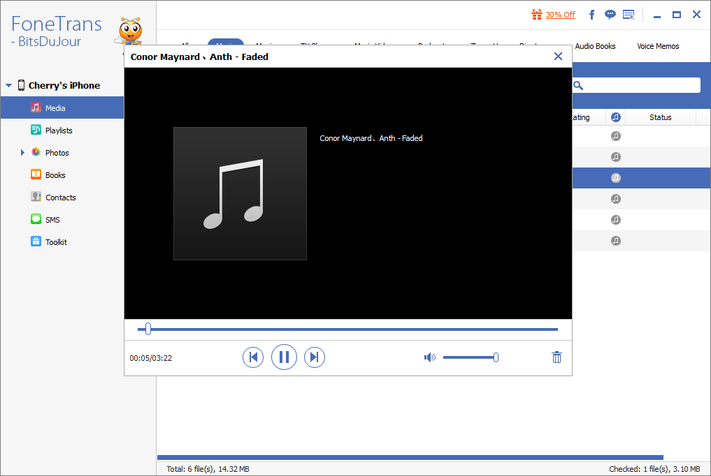 FoneTrans - iOS Transfer, File Sync Software Screenshot