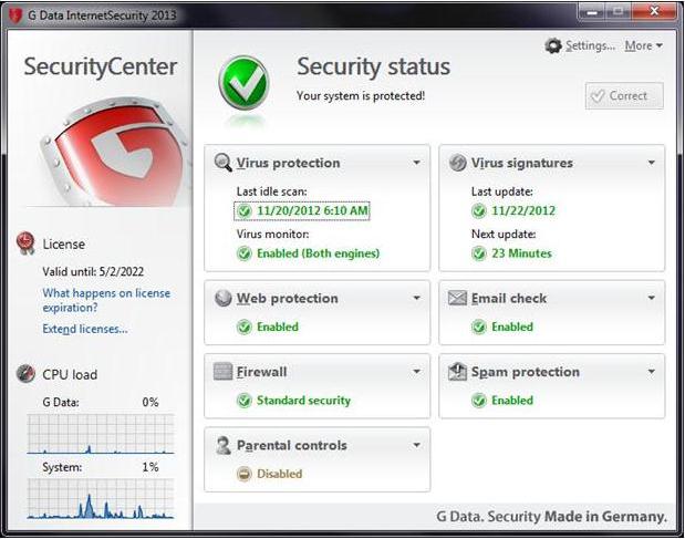 G Data InternetSecurity 2014 Screenshot