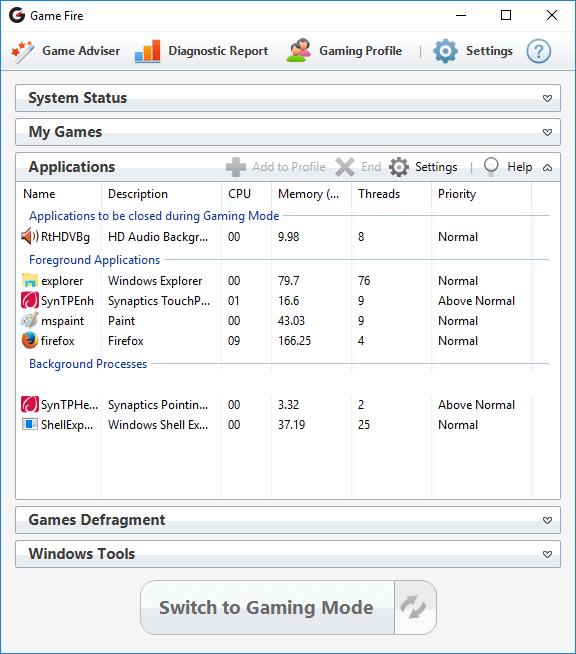 Game Fire, PC Optimization Software Screenshot