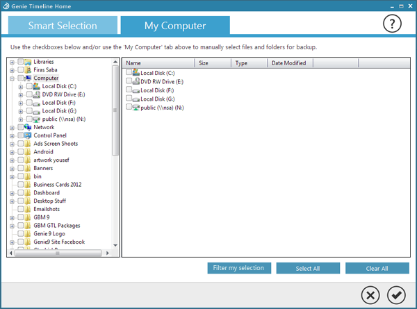 Genie Timeline Backup Home, Security Software Screenshot