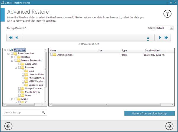 Genie Timeline Backup Home, Access Restriction Software Screenshot