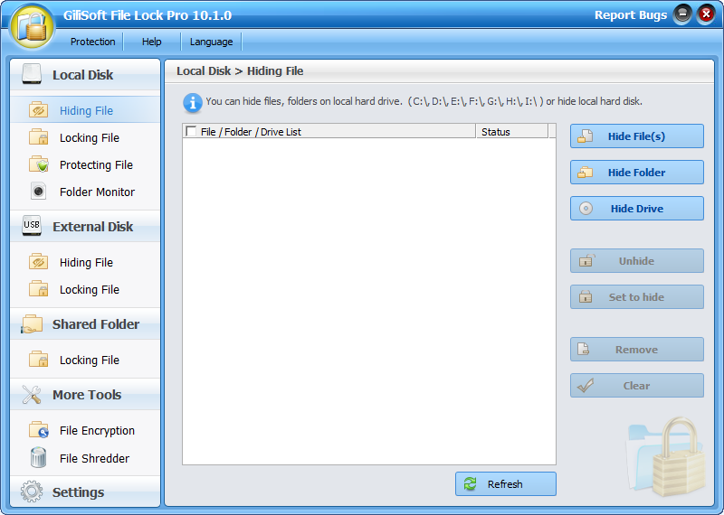 GiliSoft File Lock Pro Screenshot