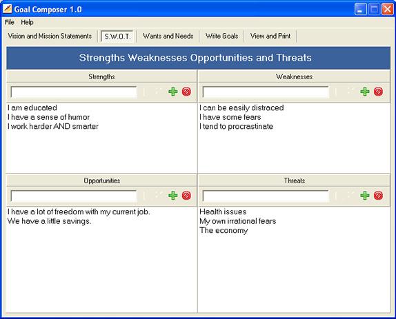 Goal Composer, Productivity Software Screenshot
