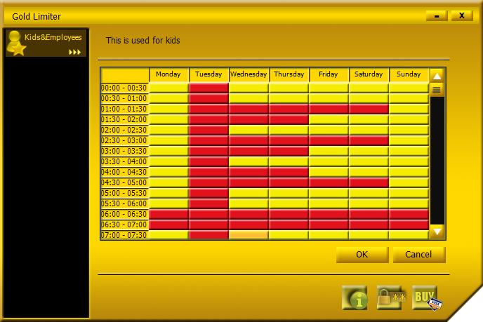 Gold Limiter, Access Restriction Software Screenshot