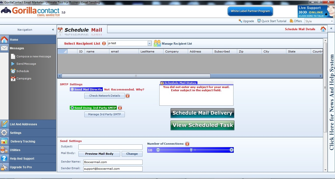 GorillaContact White Label Email Marketing Software, Bulk Mailer Software Screenshot