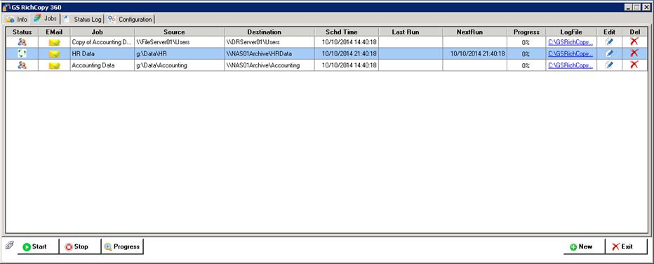 GS RichCopy 360 Standard, Software Utilities Screenshot