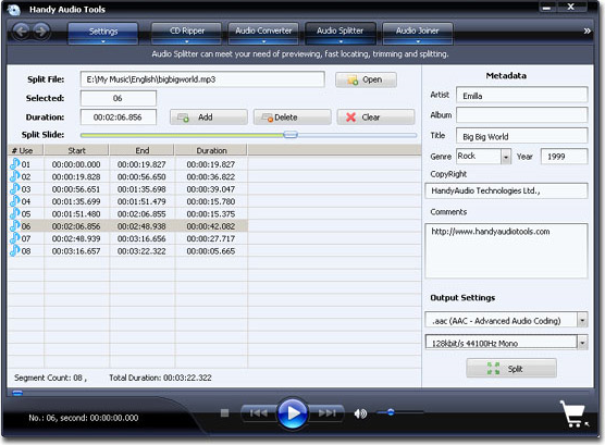 Handy Audio Tools, Audio Software Screenshot