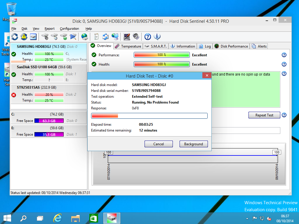 Software Utilities, Hard Disk Sentinel Professional Screenshot