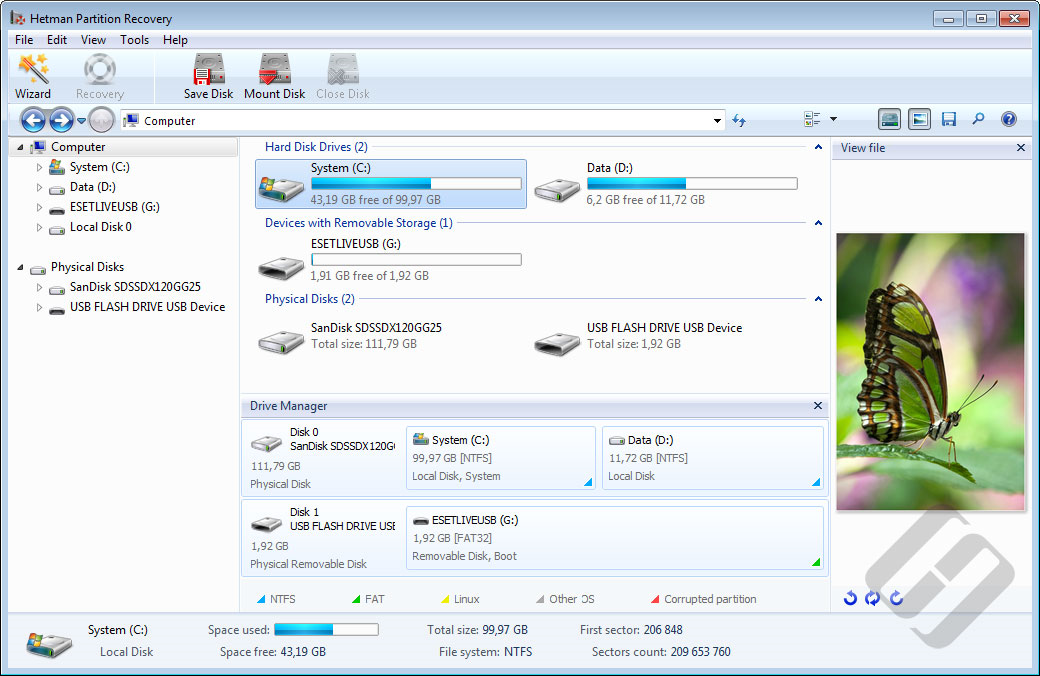 Hetman Partition Recovery Screenshot