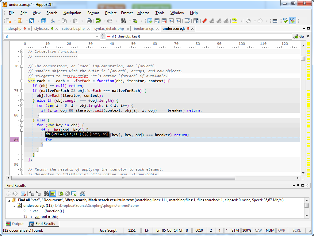 HippoEDIT, Development Software, Code Editor Software Screenshot