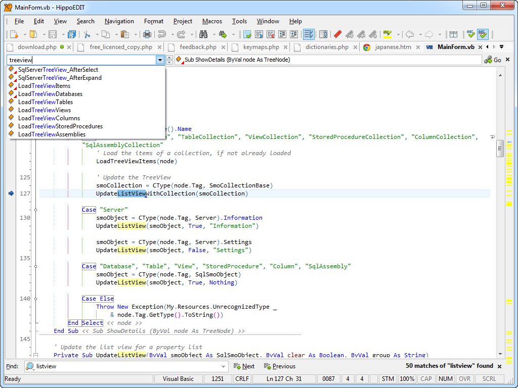 Code Editor Software, HippoEDIT Screenshot