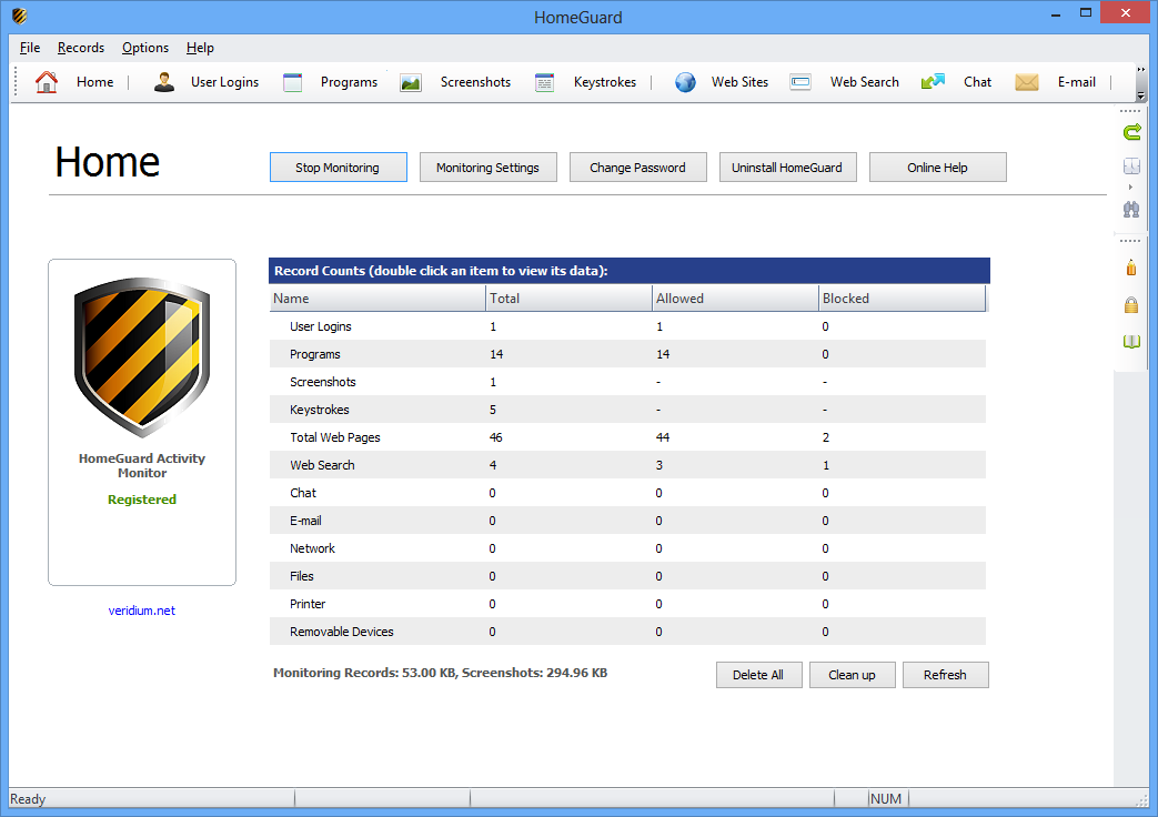 HomeGuard Activity Monitor Screenshot