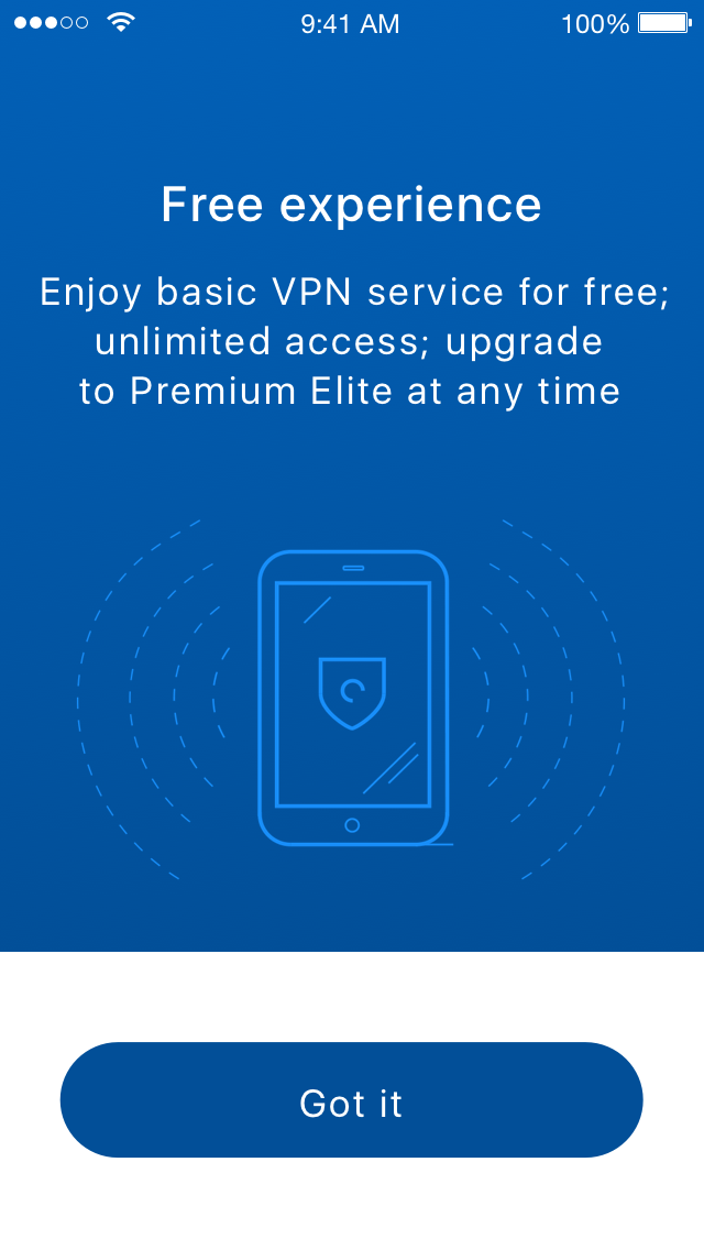 Hotspot Shield Elite - Lifetime license, Access Restriction Software Screenshot