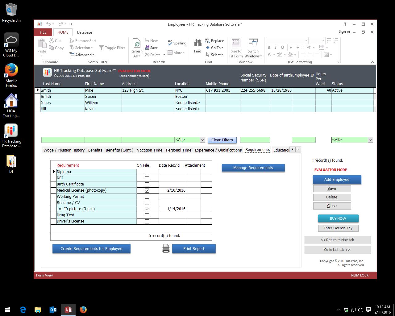 HR Tracking Database Software Screenshot
