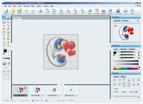 IconCool Studio Pro, Graphic Design Software Screenshot